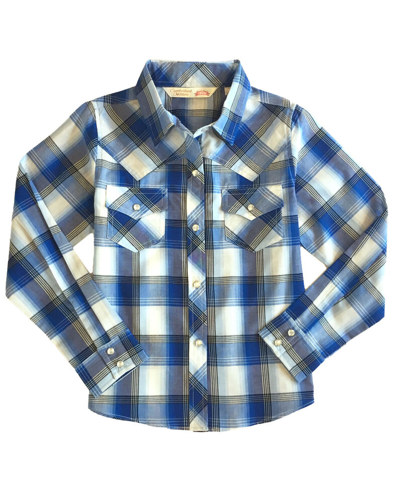Ely Cattleman Girls' Blue Plaid Long Sleeve Western Shirt , Blue, hi-res