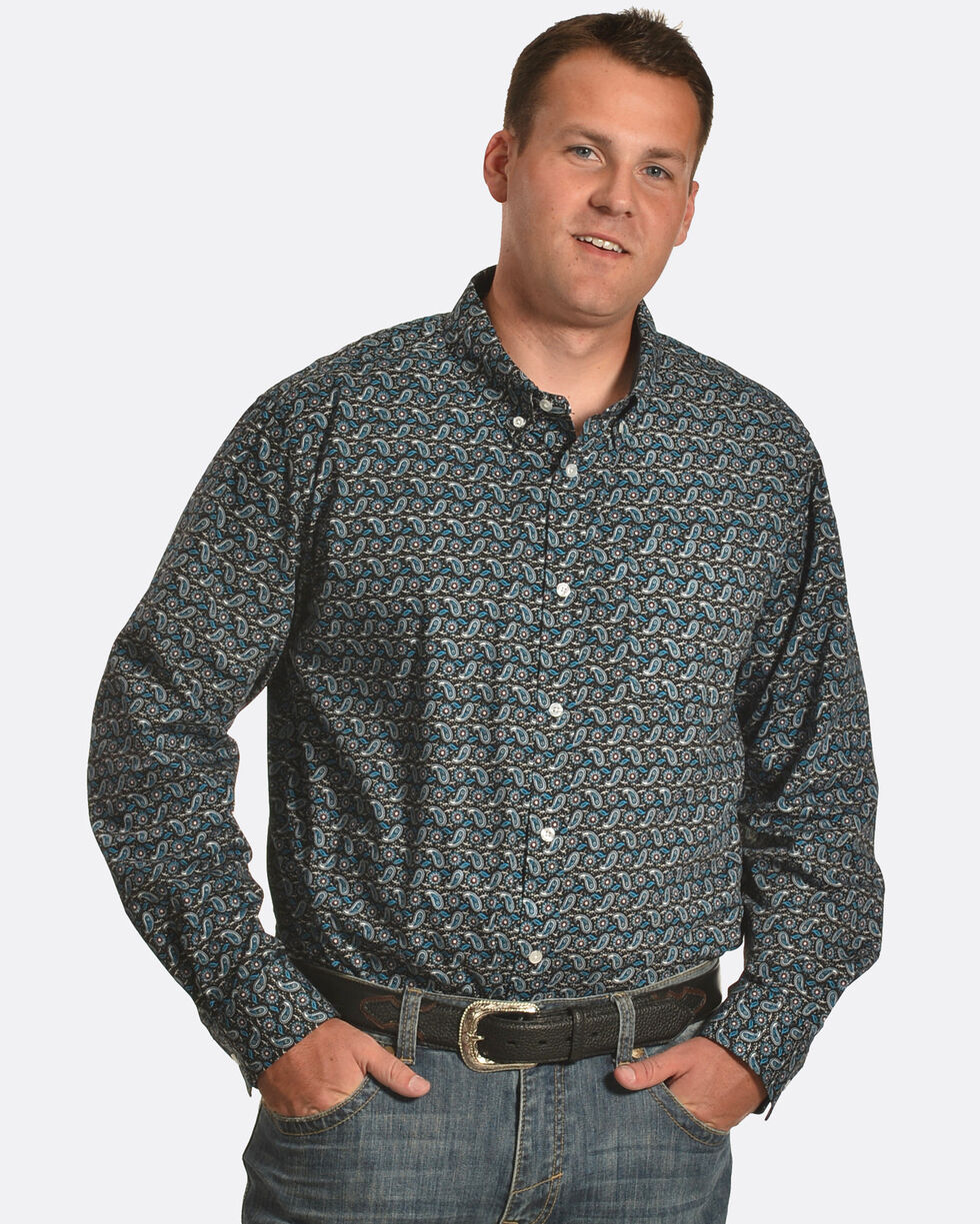 Cody James Men's Jonas Paisley Long Sleeve Shirt, Black, hi-res
