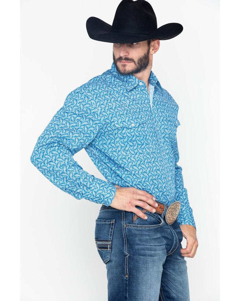 Roper Men's Paisley Print Snap Long Sleeve Western Shirt , Blue, hi-res