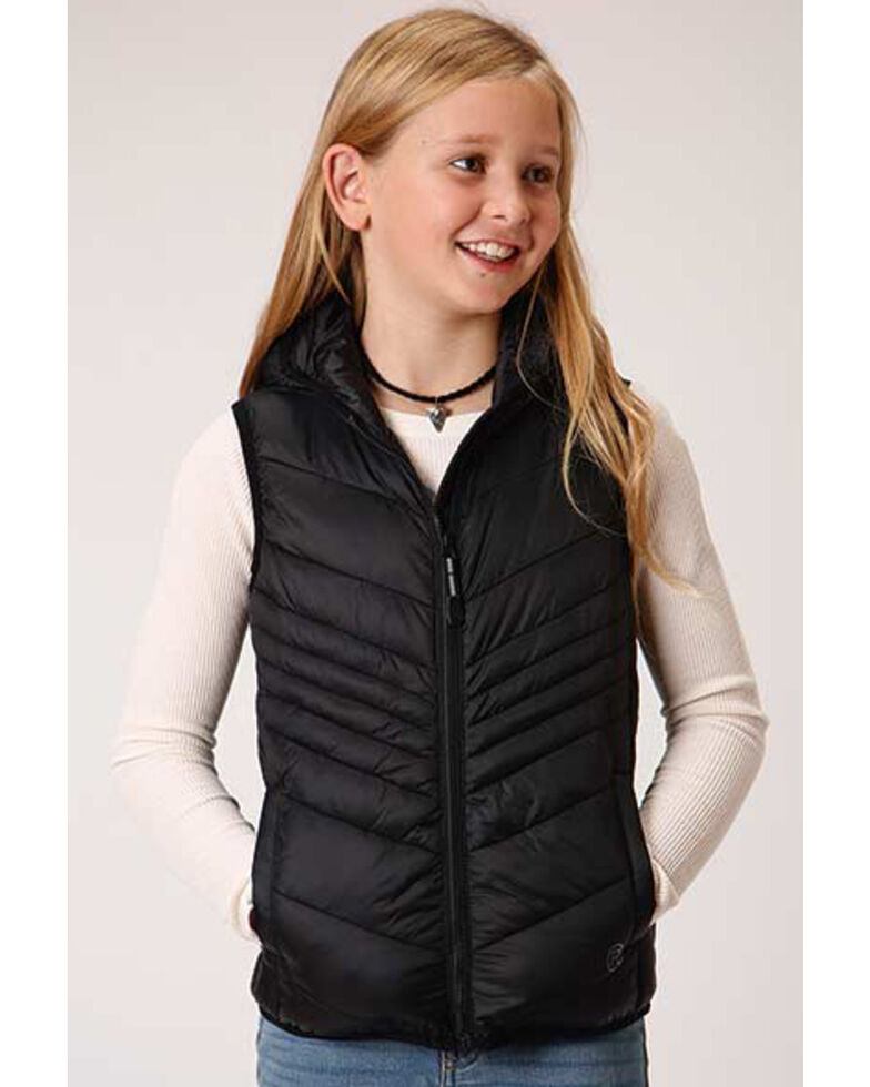 Roper Girls' Black Lightweight Quilted Vest , Black, hi-res