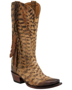 Lucchese Women's Tori Fringe Western Boots, Tan, hi-res