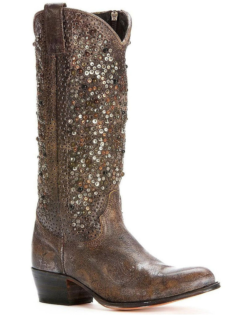 Frye Women's Deborah Studded Tall Boots - Round Toe, Grey, hi-res