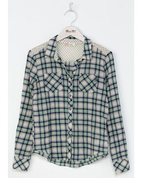 Miss Me Girls' Coastal Cool Plaid Shirt , Green, hi-res