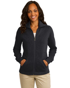 Port Authority Women's Black Slub Fleece Full-Zip Jacket , Black, hi-res