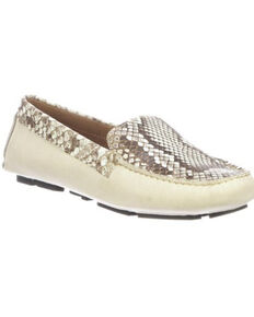 Lucchese Women's Lori Python Plug Driving Shoes - Moc Toe, Ivory, hi-res