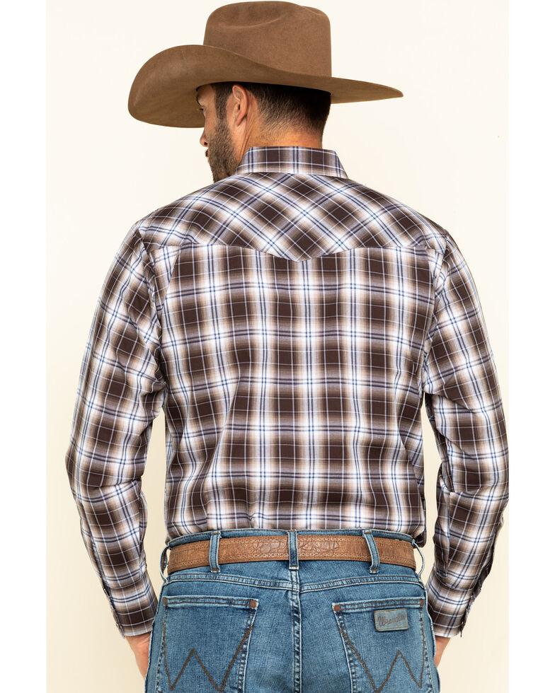 Ely Cattleman Men's Brown Med Plaid Long Sleeve Western Shirt , Brown, hi-res