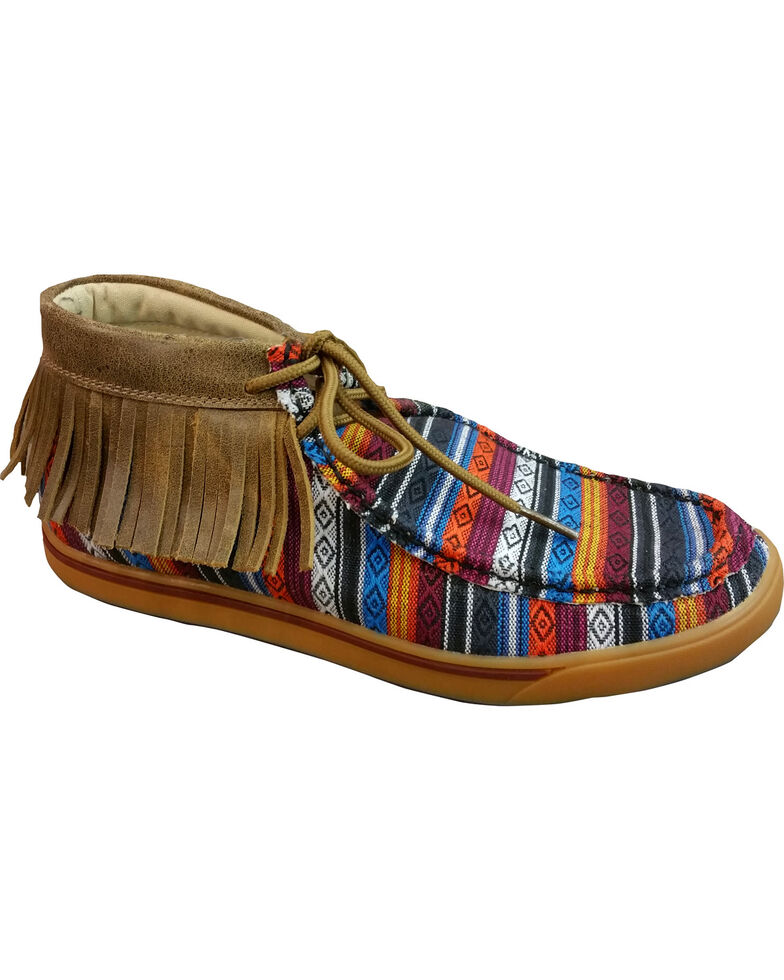 Twisted X Women's Serape Fringe Moccasins, Multi, hi-res