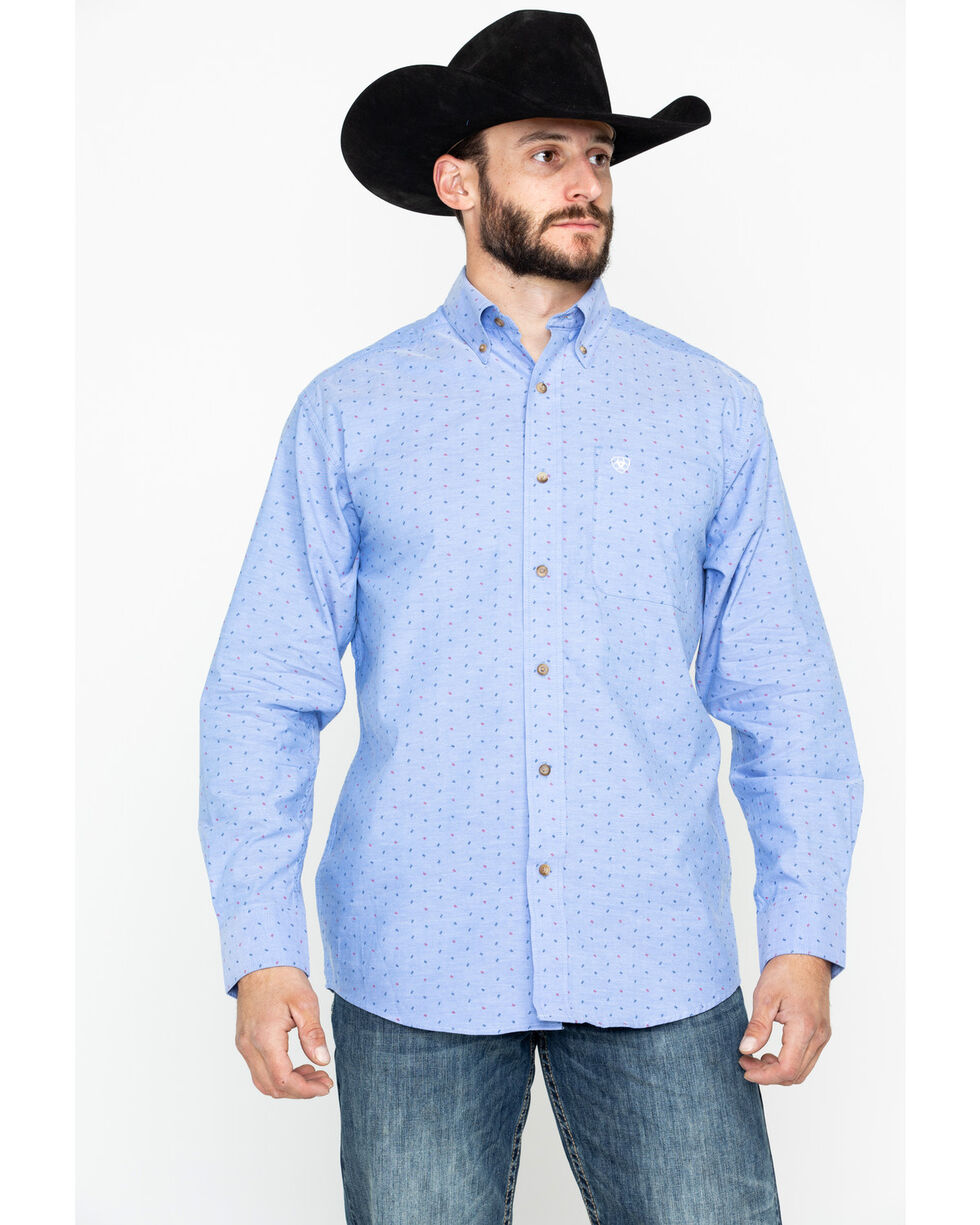 Ariat Men's Sanchez Print Long Sleeve Western Shirt, Blue, hi-res
