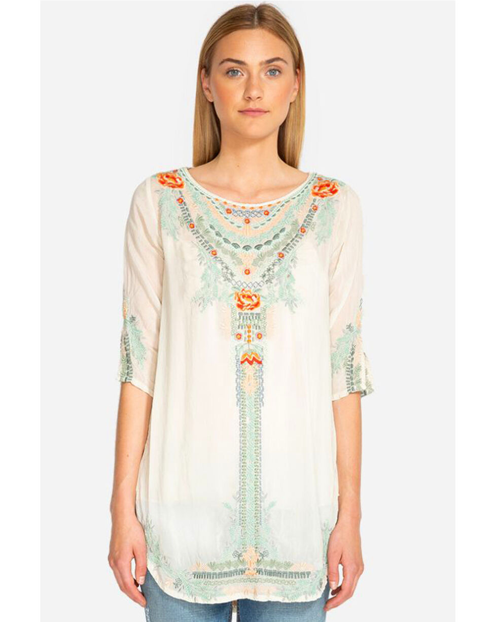 Johnny Was Women's Olive Blossom Long Sleeve Tunic, Cream, hi-res