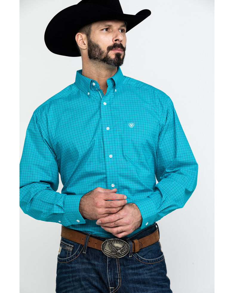Ariat Men's Bachelder Stretch Plaid Long Sleeve Western Shirt , Multi, hi-res