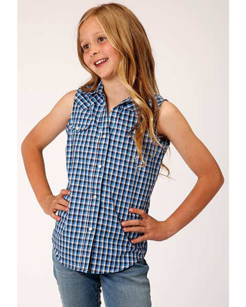 Amarillo Girls' Blue Plaid Snap Sleeveless Western Shirt , Blue, hi-res