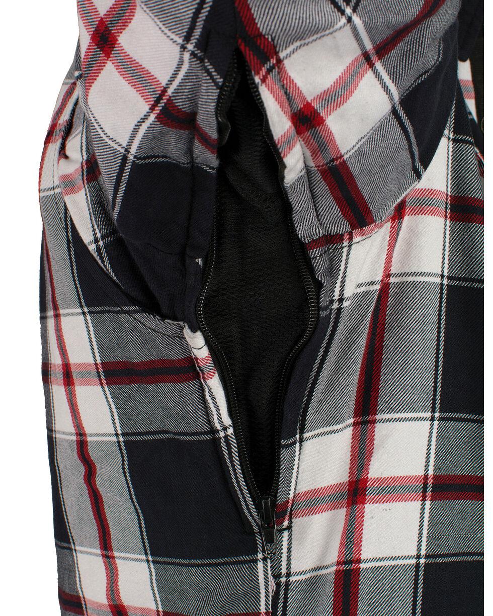 Milwaukee Performance Men's Black/White/Red Aramid Flannel Biker Jacket - 5X, Black/red, hi-res