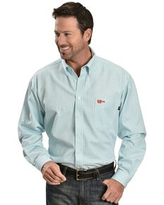 Cinch WRX Men's Flame Resistant Long Sleeve Checkered Twill Work Shirt, Turquoise, hi-res