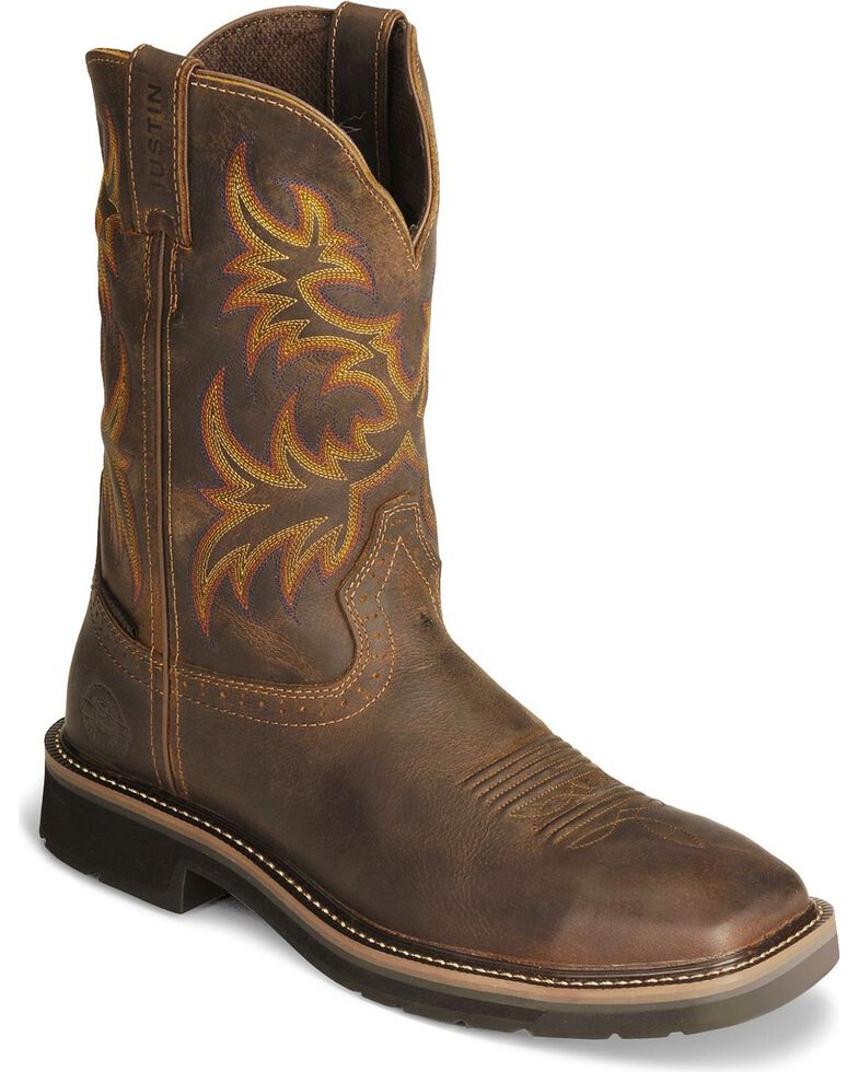 "Justin Men's 11"" Western Work Boots, Tan, hi-res"