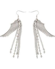 Shyanne® Women's Dangle Wing Earrings, Silver, hi-res