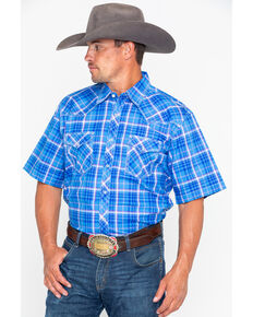 Wrangler 20X Men's Competition Advanced Comfort Plaid Short Sleeve Western Shirt , Blue, hi-res