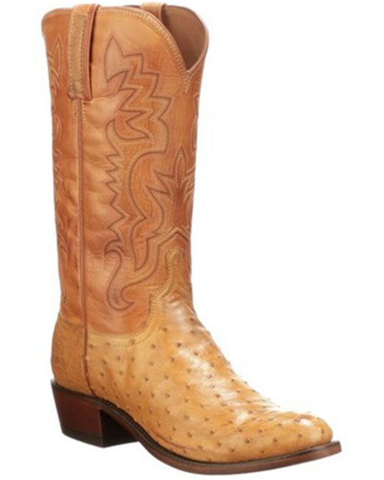 Lucchese Men's Exotic Ostrich Skin Burn Ranch Western Boots - Round Toe, Sand, hi-res