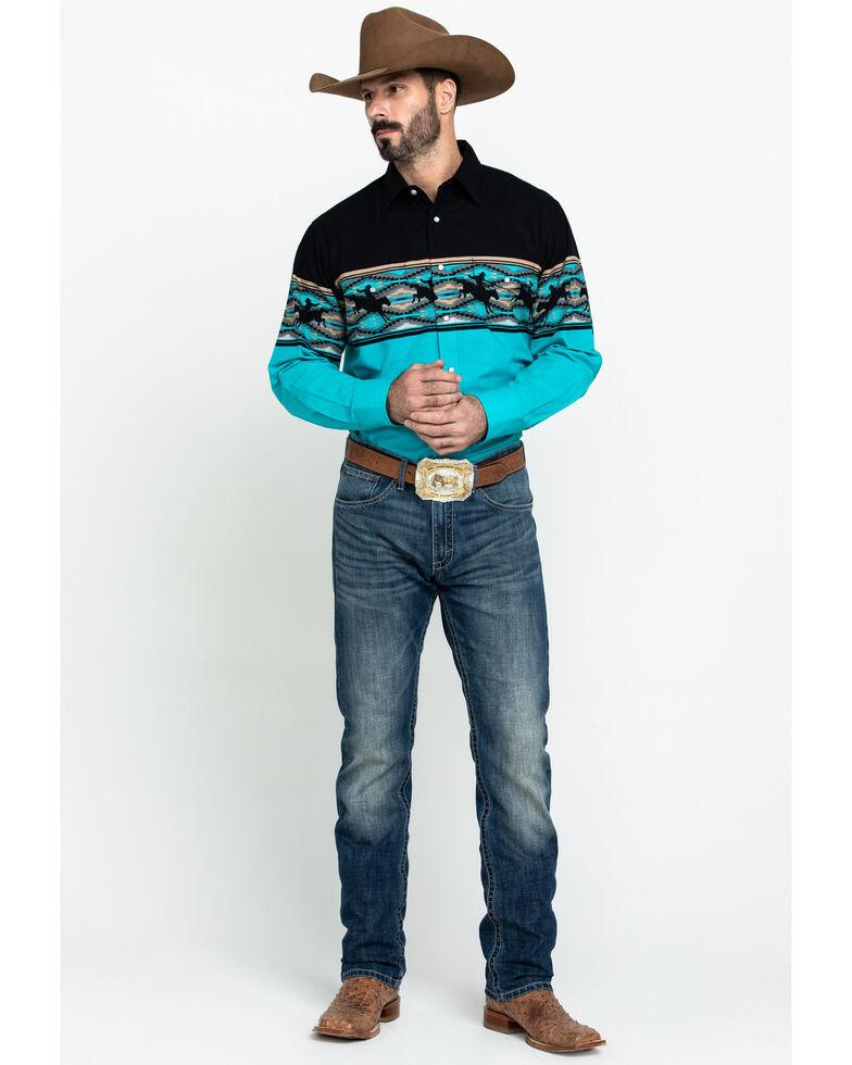 Panhandle Men's Multi Aztec Scene Border Print Long Sleeve Western Shirt , Multi, hi-res