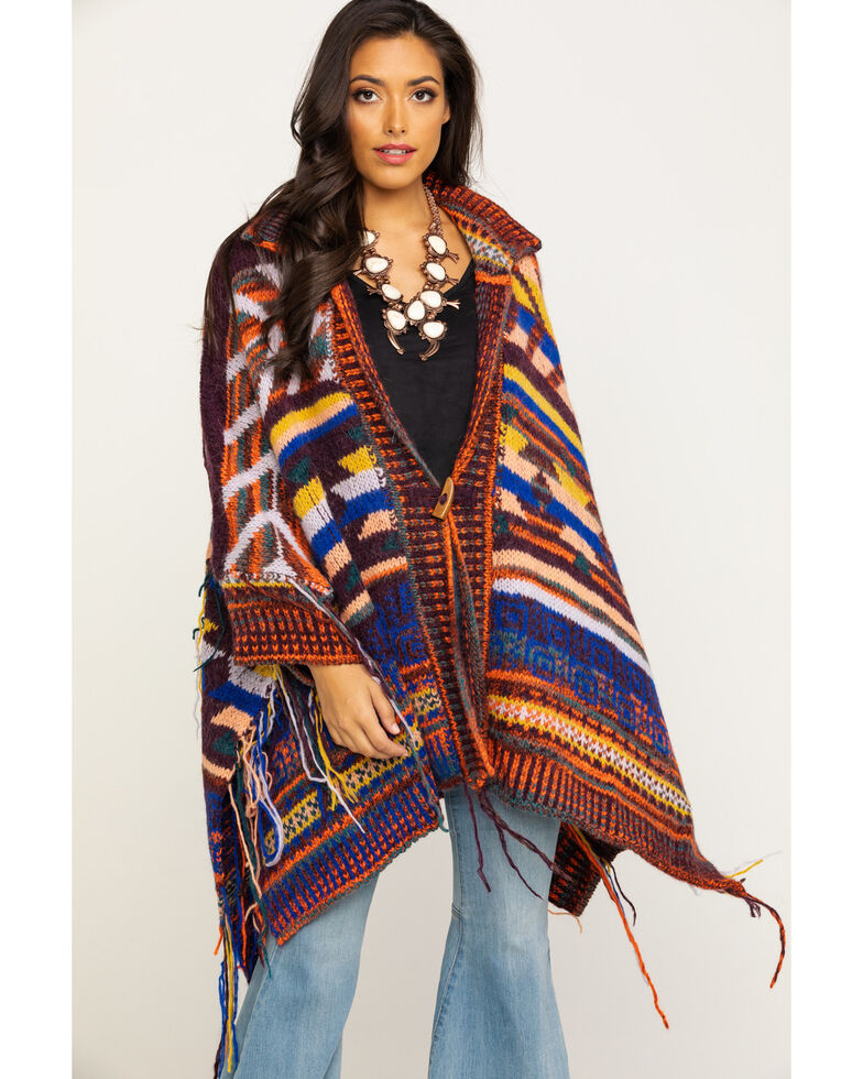Free People Women's Follow The Arrow Poncho, Multi, hi-res
