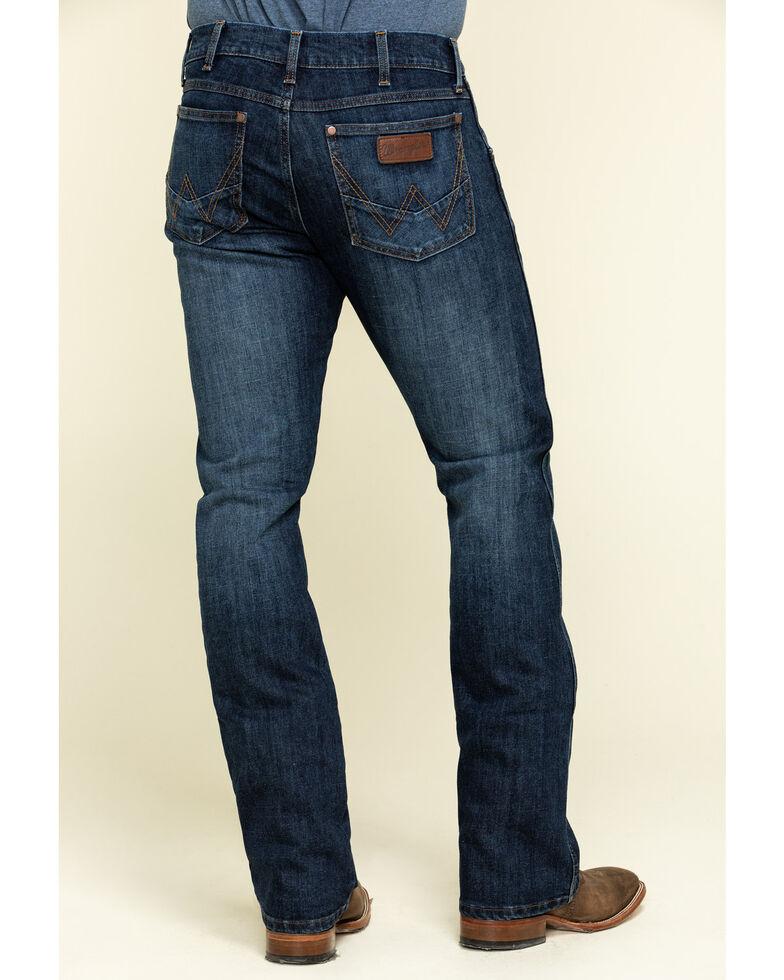 Wrangler Retro Men's Bronc Dark Stretch Slim Bootcut Jeans - Long , Blue, hi-res