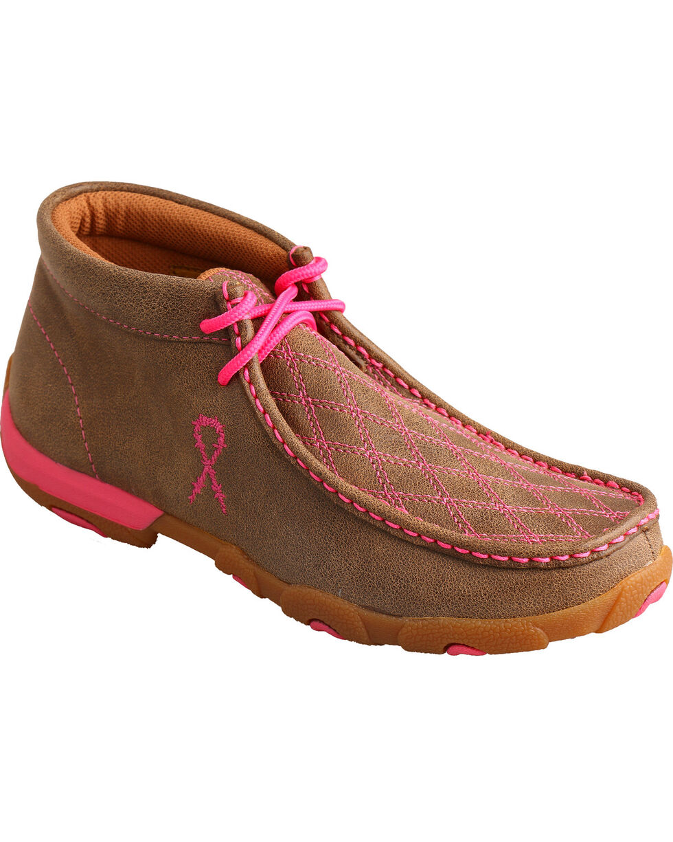 Twisted X Women's Tough Enough to Wear Pink Driving Mocs, Brown, hi-res