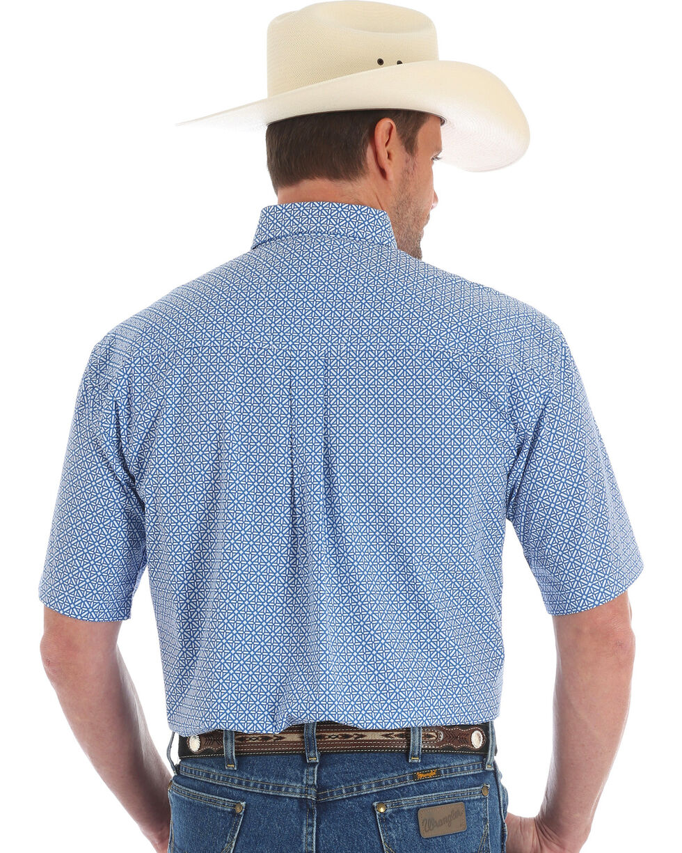 George Strait by Wrangler Men's Geo Diamond Short Sleeve Button Down Shirt, Blue, hi-res