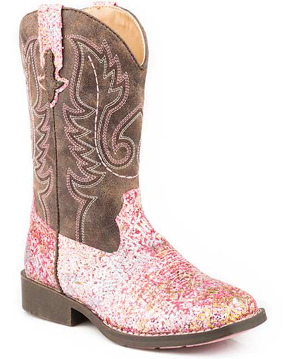 Roper Girls' Glitter Aztec Western Boots - Square Toe, Pink, hi-res