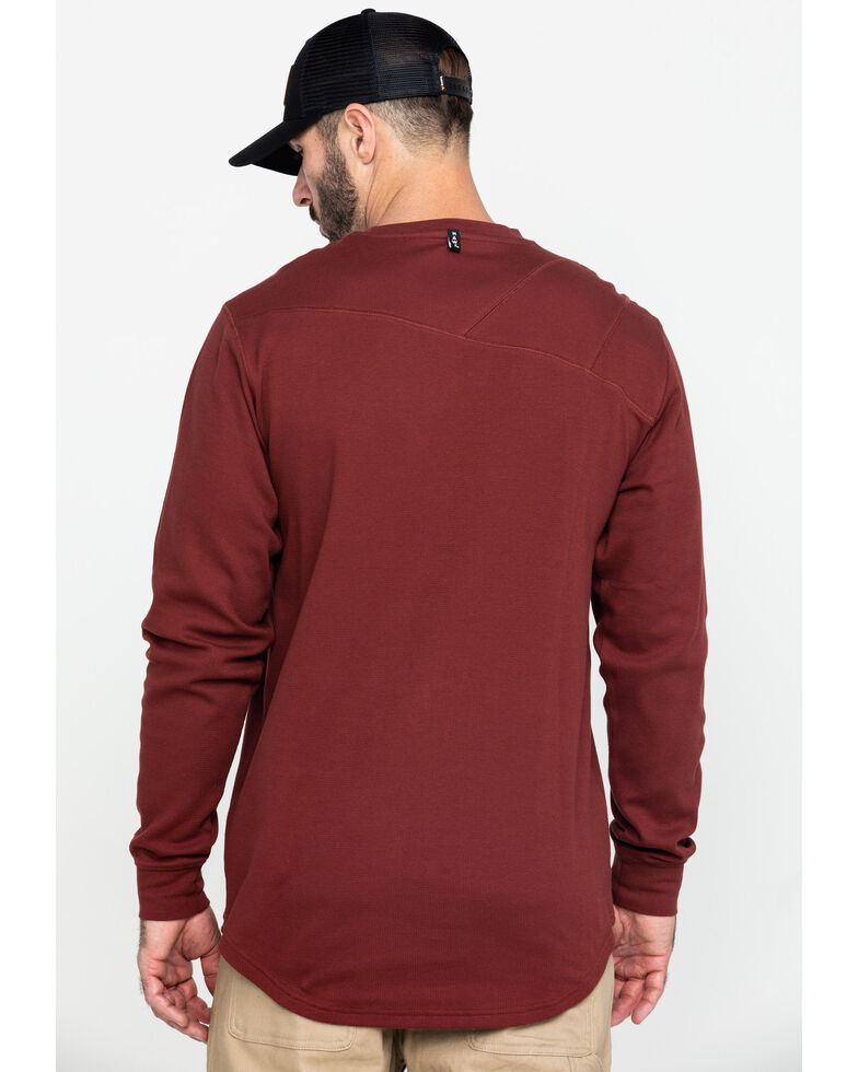 Hawx Men's Red Solid Asphalt Thermal Crew Long Sleeve Work Shirt - Tall , Dark Red, hi-res