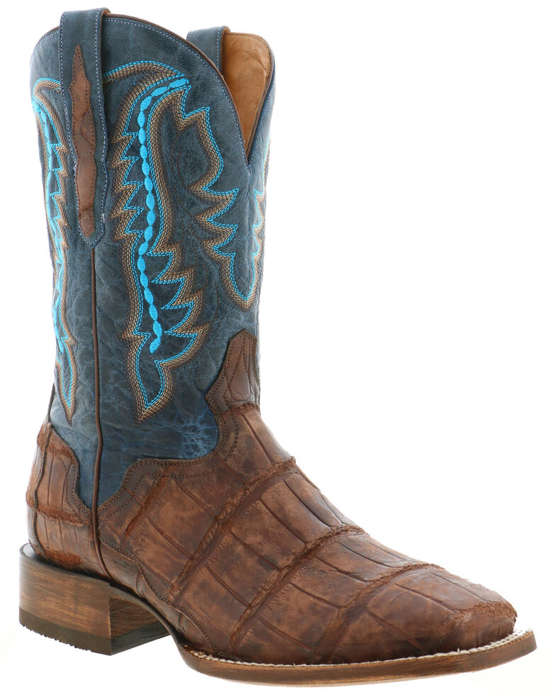 El Dorado Men's Caiman Leather Western Boots - Wide Square Toe, Chocolate, hi-res