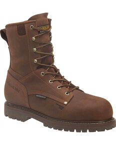 "Carolina Men's 8"" Insulated WP Comp Toe Work Boots, Brown, hi-res"