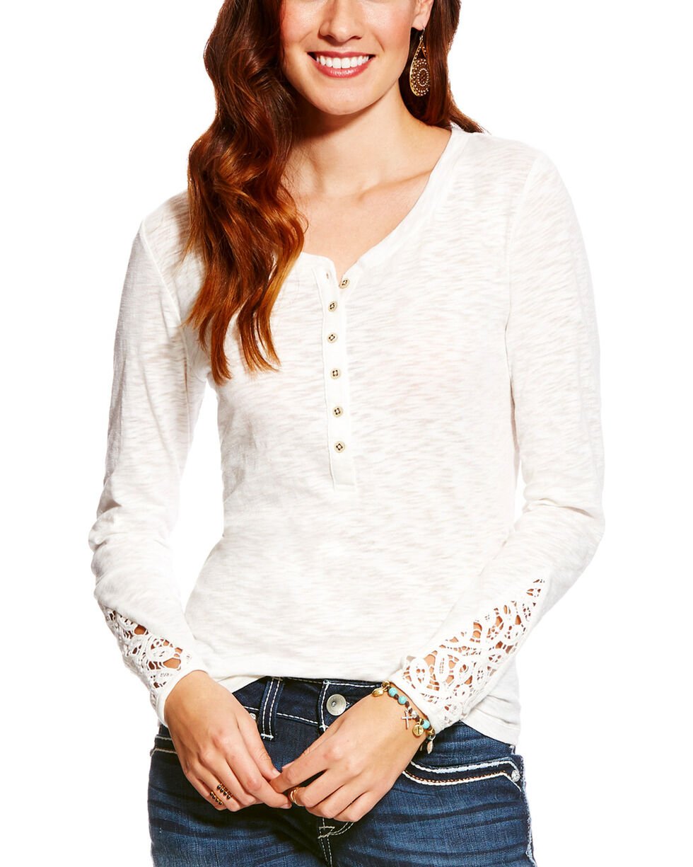 Ariat Women's White Agnes Henley Cloud Dancer Top , White, hi-res