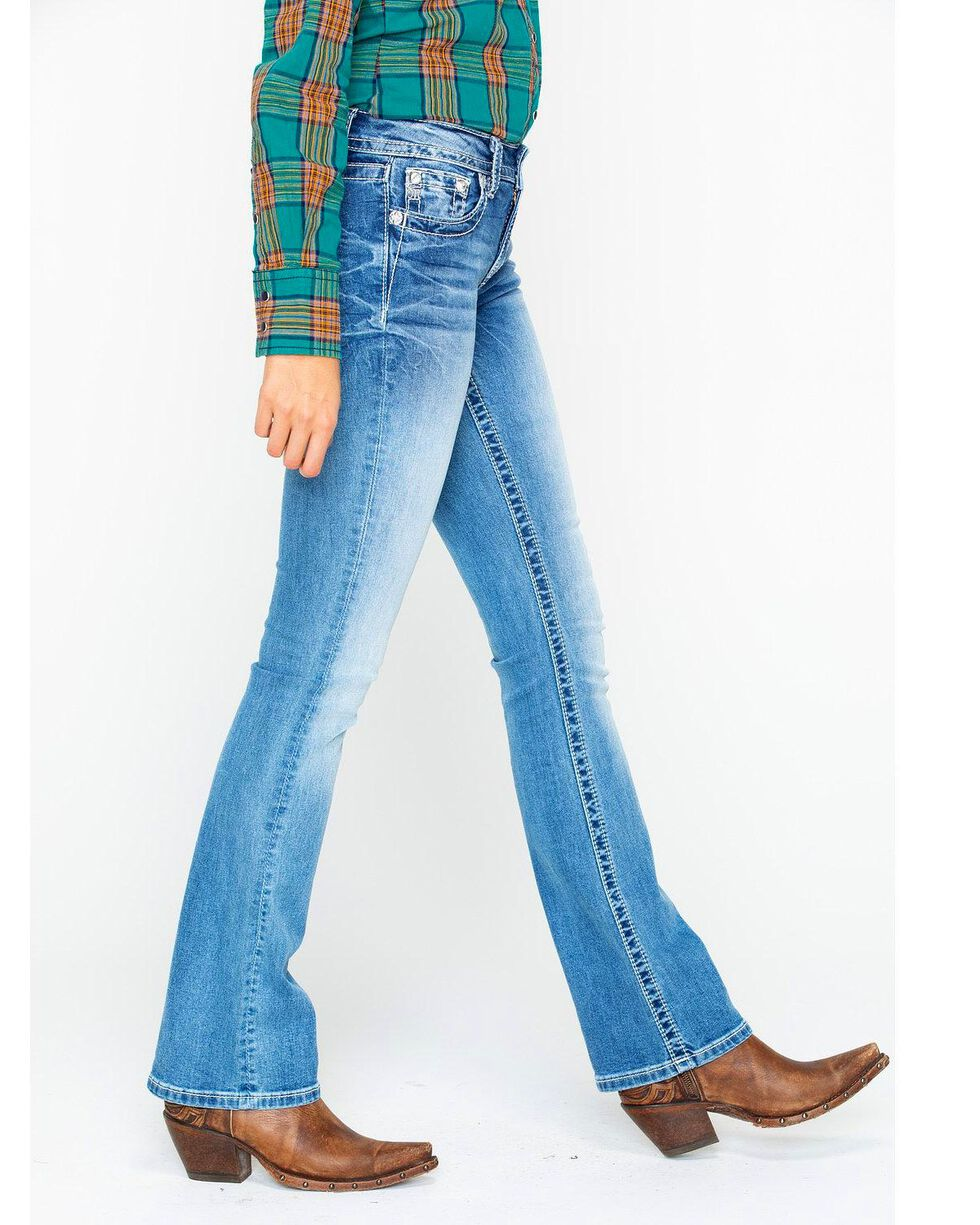 Miss Me Women's Chloe Cowhide Pocket Boot Jeans , Blue, hi-res