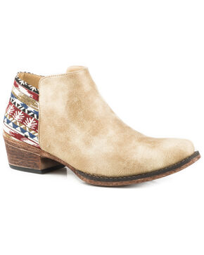 Roper Women's Sedona Faux Leather Booties - Snip Toe, Tan, hi-res