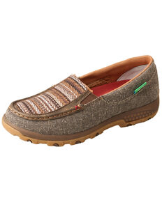 Twisted X Women's Slip-On CellStretch Driving Shoes - Moc Toe, Brown, hi-res