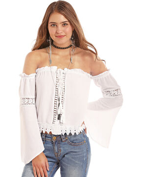 Rock & Roll Cowgirl Women's Bell Sleeve Off The Shoulder Blouse, White, hi-res
