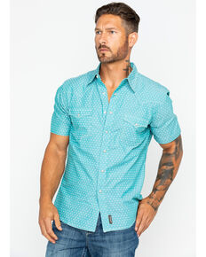 Wrangler Retro Men's Green Geo Print Short Sleeve Western Shirt , Green, hi-res