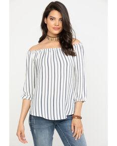 820e1adf Moa Moa Women's Bow Back Stripe Long Sleeve Top