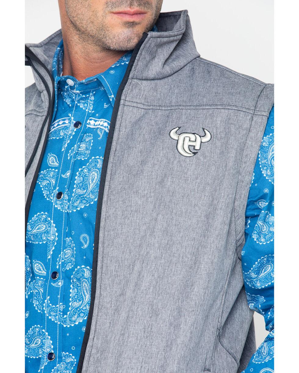 Cowboy Hardware Men's Zip-Up Poly Shell Vest, Grey, hi-res