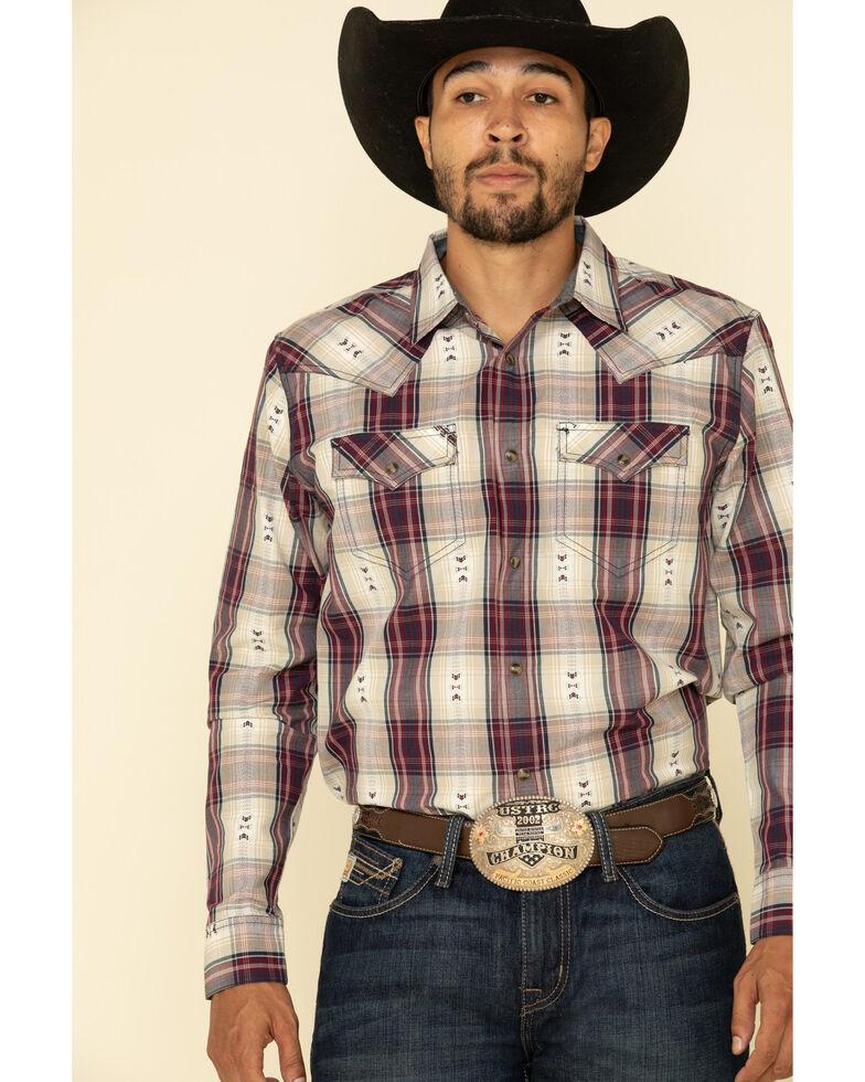 Cody James Men's Las Cruces Large Plaid Long Sleeve Western Shirt - Big , Maroon, hi-res