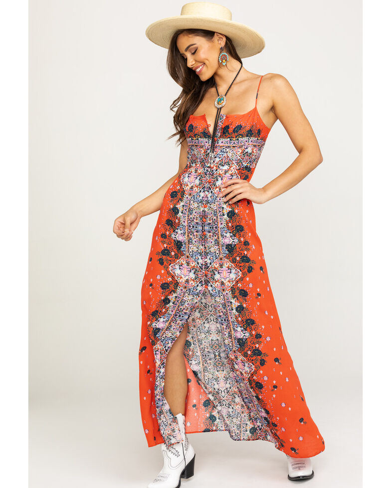 Free People Women's Morning Song Maxi Dress, Red, hi-res