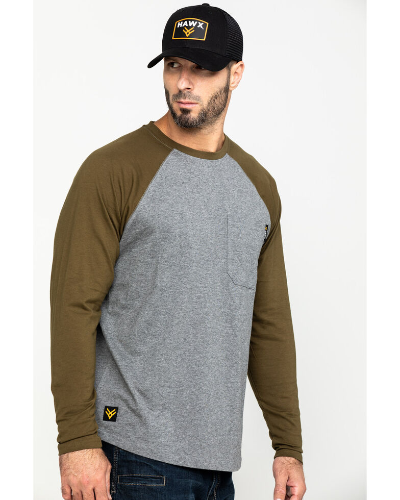 Hawx Men's Olive Baseball Raglan Crew Long Sleeve Work Shirt - Tall , Olive, hi-res