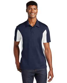 Sport Tek Men's True Navy & White 3X Side Color Blocked Sport Wick Short Sleeve Polo Work Shirt - Big, Multi, hi-res