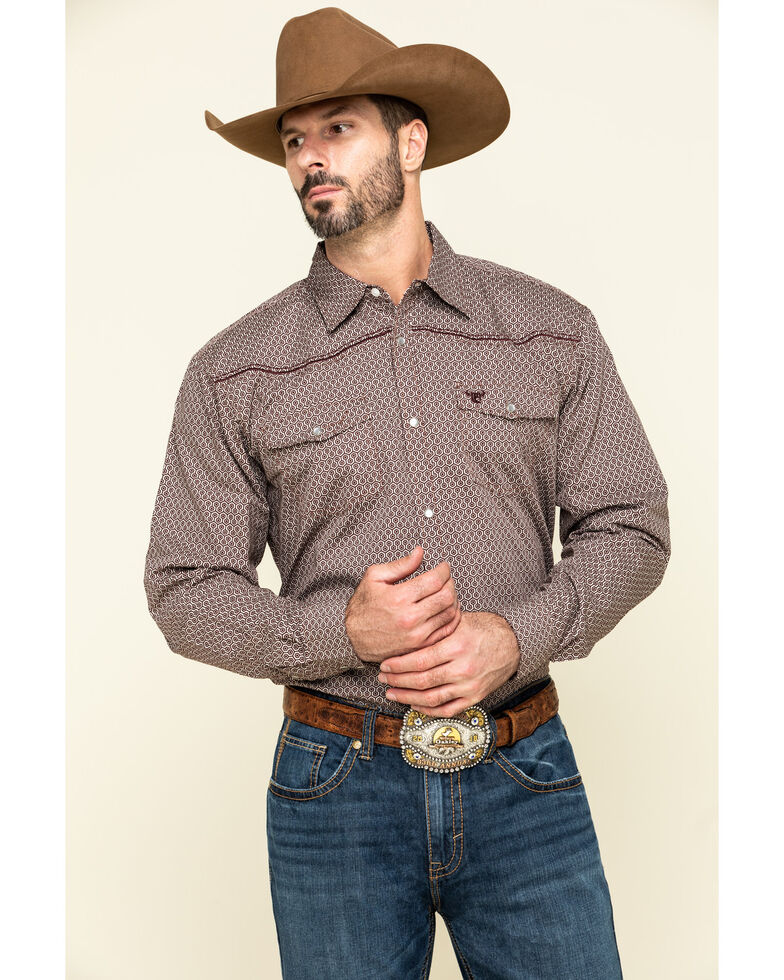 Cowboy Hardware Men's Burgundy Honeycomb Geo Print Long Sleeve Western Shirt , Burgundy, hi-res