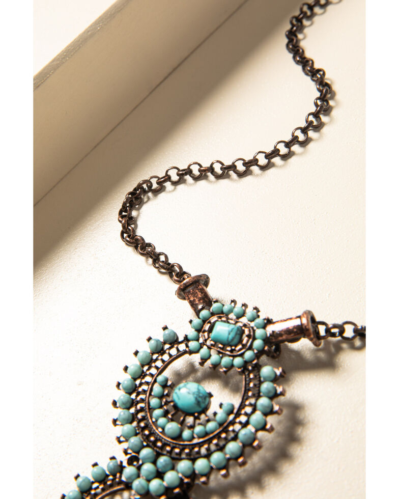 Shyanne Women's Willow Moon Turquoise Beaded 3-Tier Drop Necklace, Rust Copper, hi-res