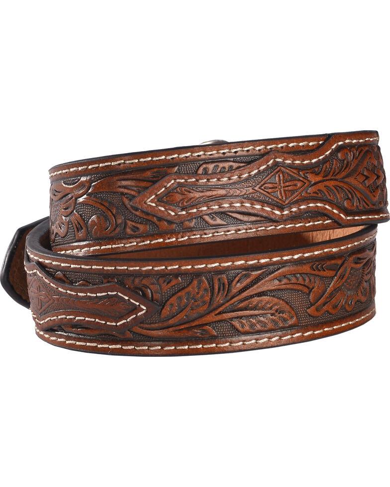 Cody James Boys' Brown Floral Embossed Belt, Brown, hi-res