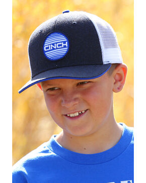 Cinch Boys' Circle Patch Trucker Cap, Navy, hi-res