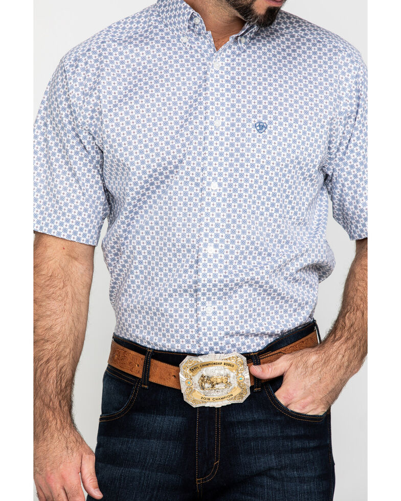 Ariat Men's Lucas Small Geo Print Short Sleeve Western Shirt , White, hi-res