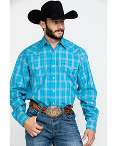 Stetson Men's Ranch Ombre Plaid Long Sleeve Western Shirt , Blue, hi-res