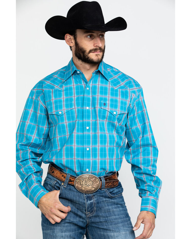 Stetson Men's Ranch Ombre Plaid Long Sleeve Western Shirt , Blue, hi-res