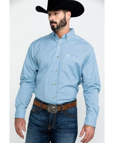 Ariat Men's Adamson Stretch Plaid Long Sleeve Western Shirt - Big , Blue, hi-res